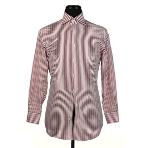 Phineas Cole Dress Shirt - White w/Red Stripes